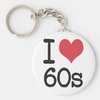 I Love 60s Vintage & Retro Designs! Keychain
