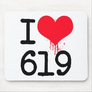 I Love 619 Area Code Mousepad