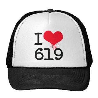 I Love 619 Area Code Trucker Hat