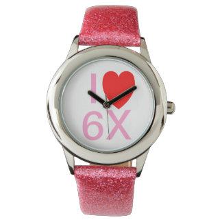 """I LOVE 6X"" Funny slogan watch"