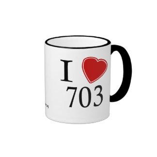 I Love 703 Arlington Ringer Coffee Mug