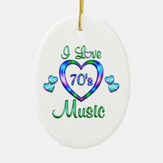 I Love 70s Music Ornament
