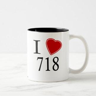 I Love 718 Brooklyn Two-Tone Coffee Mug
