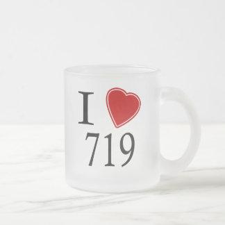 I Love 719 Colorado Springs Frosted Glass Coffee Mug