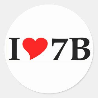 I love 7B long Classic Round Sticker