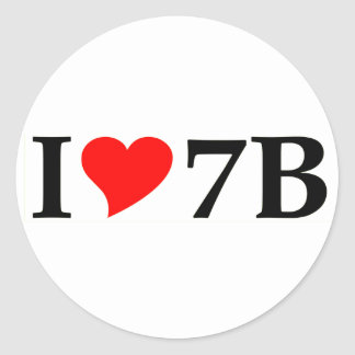 I love 7B long Round Stickers