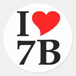 I love 7B Round Sticker