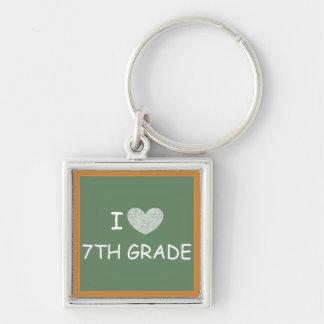 I Love 7th Grade Silver-Colored Square Keychain