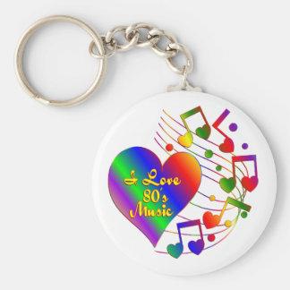 I Love 80s Music Keychain