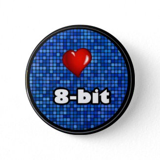 "I Love 8 - Bit Pin-back Badge 1.25"" for Jackets, B Button"
