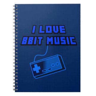 I Love 8Bit Music Blue Digital Art Graphics Notebook