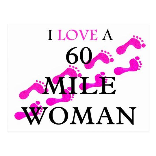 i love a 60 mile woman  feet postcard