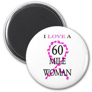 i love a 60 mile woman pink ribbon feet magnet