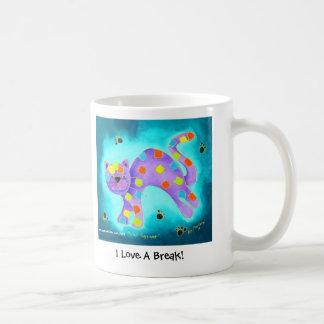 I Love A Break! - Gorgeous Aqua Happy Cat Coffee Mug