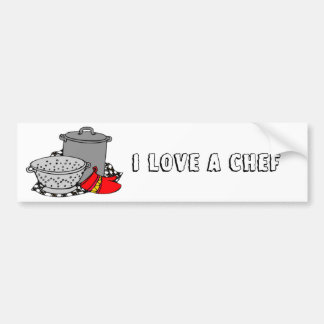 I love a chef Cooking Pot & Strainer Bumper Sticker