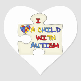 I Love a Child With Autism Heart Sticker