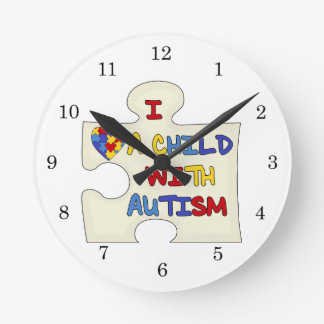 I Love a Child With Autism Round Clock