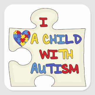 I Love a Child With Autism Square Sticker