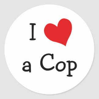 I Love a Cop Round Stickers