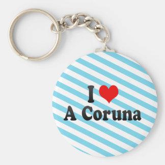 I Love A Coruna, Spain Key Chains