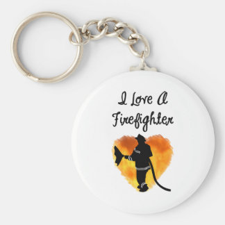 I Love A Firefighter Keychain