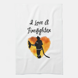 I Love A Firefighter Kitchen Towels