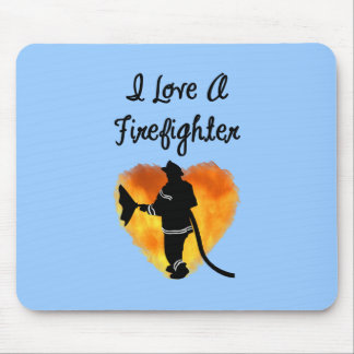 I Love A Firefighter Mouse Pad
