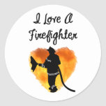 I Love A Firefighter Round Stickers