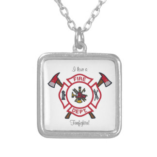 I Love a Firefighter! Square Pendant Necklace