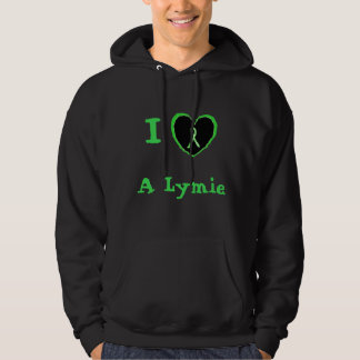 I Love a Lymie, Heart with Lyme Awareness Ribbon Hoodie