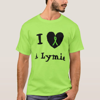 I Love a Lymie, Heart with Lyme Awareness Ribbon T-Shirt