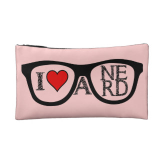 I Love A Nerd geeky Glasses Cosmetic Bags
