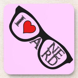 I Love A Nerd Geeky Glasses Beverage Coaster