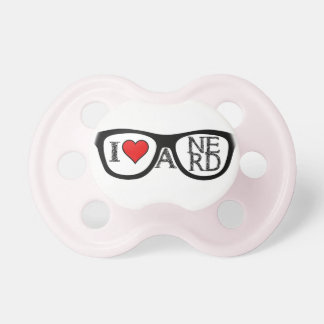 I Love A Nerd Geeky Glasses Pacifier