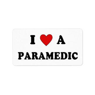 I Love A Paramedic Personalized Address Label