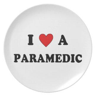 I Love a Paramedic Melamine Plate