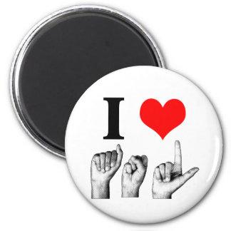 I Love A-S-L 2 Inch Round Magnet