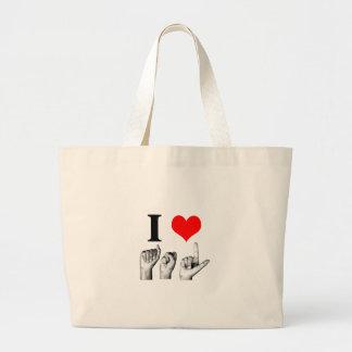 I Love A-S-L (2) Large Tote Bag