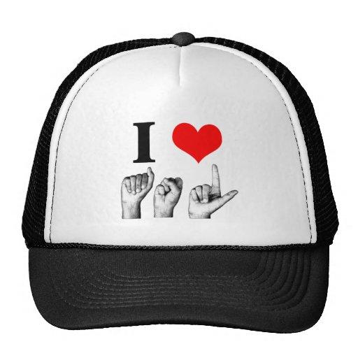 I Love A-S-L (2) Mesh Hats