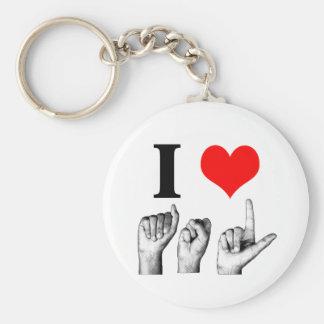 I Love A-S-L Basic Round Button Keychain