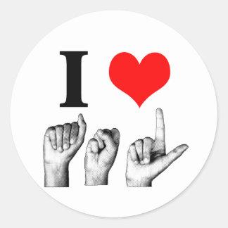 I Love A-S-L Classic Round Sticker