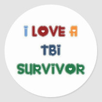 I LOVE A TBI SURVIVOR CLASSIC ROUND STICKER