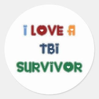 I LOVE A TBI SURVIVOR CLASSIC ROUND STICKER