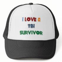 I LOVE A TBI SURVIVOR TRUCKER HAT