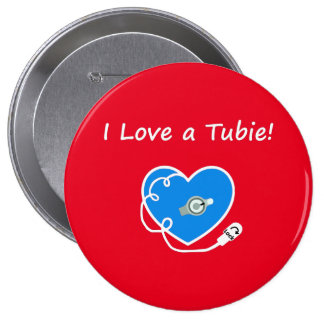 I love a tubie! Round Button Pin!