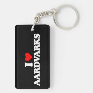 I LOVE AARDVARKS RECTANGULAR ACRYLIC KEYCHAINS