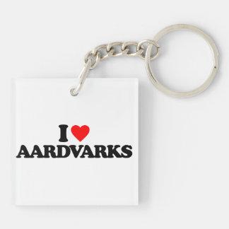 I LOVE AARDVARKS SQUARE ACRYLIC KEYCHAINS