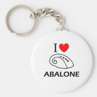 I Love Abalone Basic Round Button Keychain