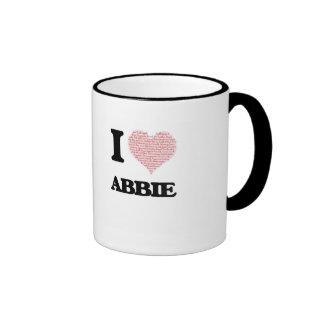 I love Abbie (heart made from words) design Ringer Coffee Mug