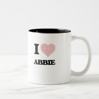 I love Abbie (heart made from words) design Two-Tone Coffee Mug